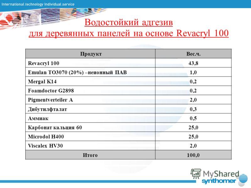 Водостойкий адгезив для деревянных панелей на основе Revacryl 100 Продукт Вес.ч. Revacryl 10043,8 Emulan TO3070 (20%) –неионный ПАВ1,01,0 Mergal K140,2 Foamdoctor G28980,2 Pigmentverteiler A2,0 Дибутилфталат0,3 Аммиак0,5 Карбонат кальция 60 25,0 Micr