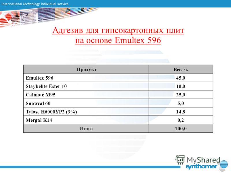 Адгезив для гипсокартонных плит на основе Emultex 596 ПродуктВес. ч. Emultex 59645,0 Staybelite Ester 1010,0 Calmote M9525,0 Snowcal 605,0 Tylose H6000YP2 (3%)14,8 Mergal K140,2 Итого100,0