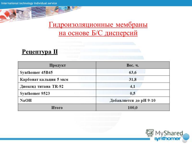 Рецептура II Гидроизоляционные мембраны на основе Б/С дисперсий ПродуктВес. ч. Synthomer 45B4563,6 Карбонат кальция 5 мкм31,8 Диоксид титана TR-924,14,1 Synthomer 95230,5 NaOHДобавляется до рН 9-10 Итого100,0