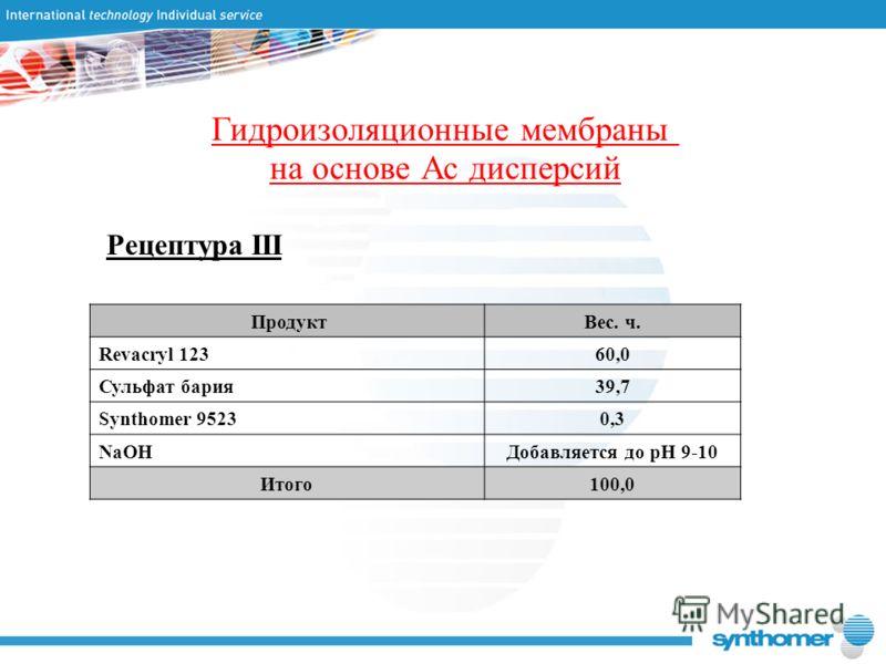 Гидроизоляционные мембраны на основе Ас дисперсий Рецептура III ПродуктВес. ч. Revacryl 12360,0 Сульфат бария39,7 Synthomer 95230,3 NaOHДобавляется до рН 9-10 Итого100,0