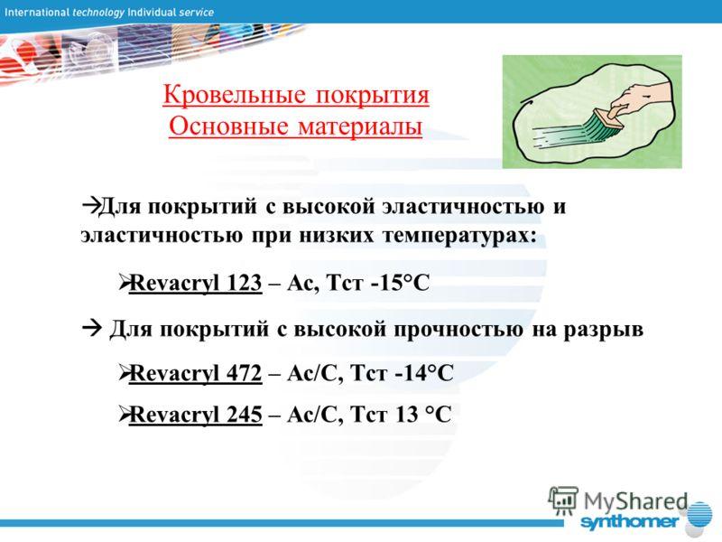Кровельные покрытия Основные материалы Для покрытий с высокой эластичностью и эластичностью при низких температурах: Revacryl 123 – Ас, Tст -15°C Для покрытий с высокой прочностью на разрыв Revacryl 472 – Ас/С, Tст -14°C Revacryl 245 – Ас/С, Tст 13 °
