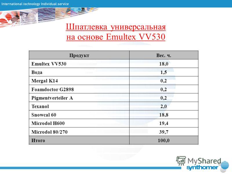 Шпатлевка универсальная на основе Emultex VV530 ПродуктВес. ч. Emultex VV53018,0 Вода1,5 Mergal K140,2 Foamdoctor G28980,2 Pigmentverteiler A0,2 Texanol2,0 Snowcal 6018,8 Microdol H60019,4 Microdol 80/27039,7 Итого100,0