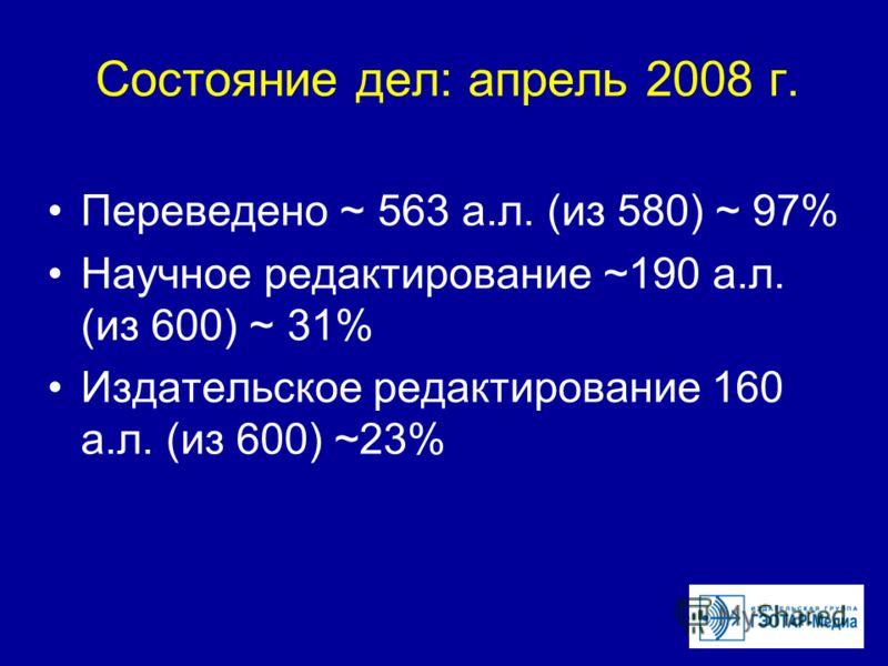 Состояние дел: апрель 2008 г. Переведено ~ 563 а.л. (из 580) ~ 97% Научное редактирование ~190 а.л. (из 600) ~ 31% Издательское редактирование 160 а.л. (из 600) ~23%