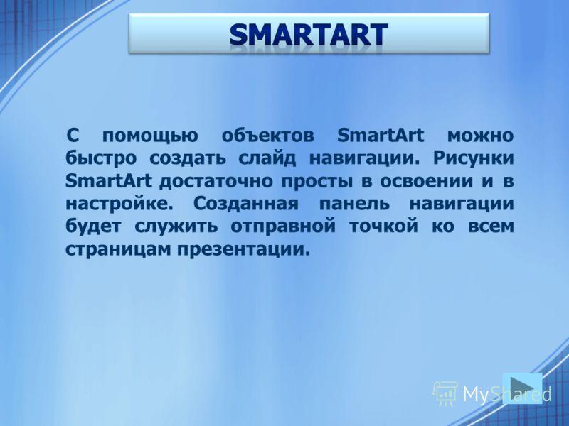 С помощью объектов SmartArt можно быстро создать слайд навигации. Рисунки SmartArt достаточно просты в освоении и в настройке. Созданная панель навигации будет служить отправной точкой ко всем страницам презентации.