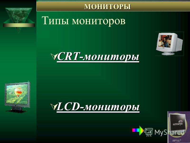 Типы мониторов CRT-мониторы CRT-мониторы CRT-мониторы CRT-мониторы LCD-мониторы LCD-мониторы LCD-мониторы LCD-мониторы МОНИТОРЫ МОНИТОРЫ