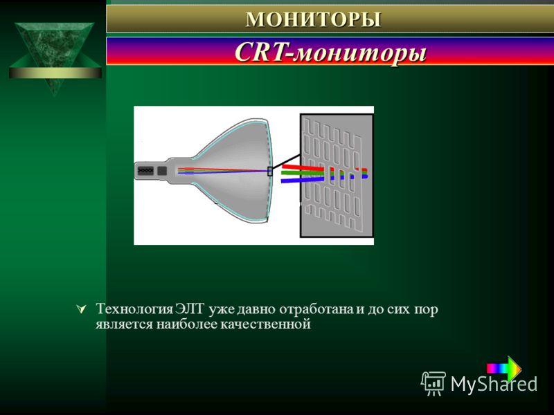 Технология ЭЛТ уже давно отработана и до сих пор является наиболее качественной МОНИТОРЫ МОНИТОРЫ CRT-мониторы