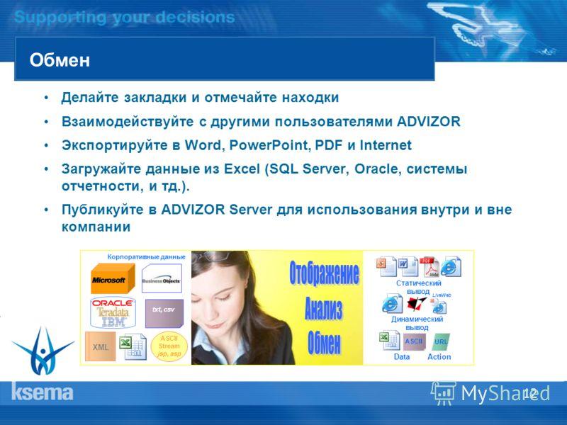 12 Обмен Делайте закладки и отмечайте находки Взаимодействуйте с другими пользователями ADVIZOR Экспортируйте в Word, PowerPoint, PDF и Internet Загружайте данные из Excel (SQL Server, Oracle, системы отчетности, и тд.). Публикуйте в ADVIZOR Server д