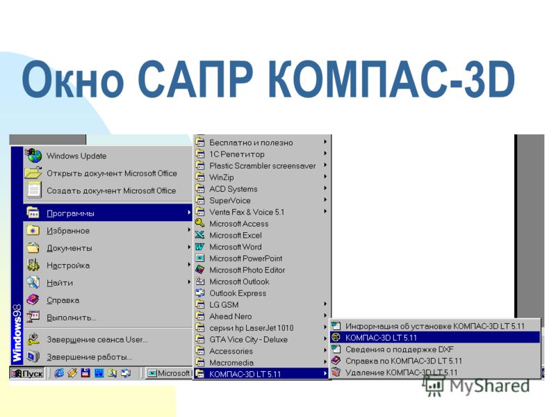 Окно САПР КОМПАС-3D