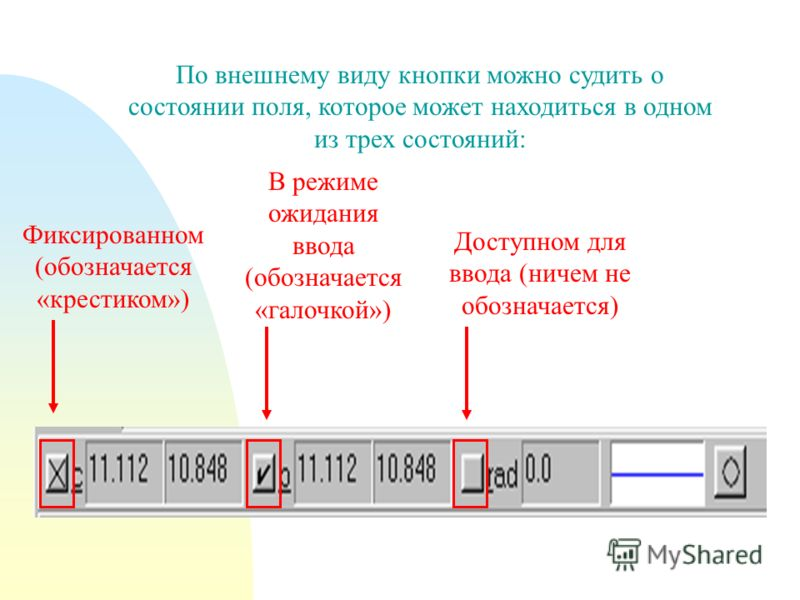 По внешнему виду кнопки можно судить о состоянии поля, которое может находиться в одном из трех состояний: Фиксированном (обозначается «крестиком») В режиме ожидания ввода (обозначается «галочкой») Доступном для ввода (ничем не обозначается)
