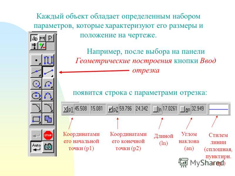 Каждый объект обладает определенным набором параметров, которые характеризуют его размеры и положение на чертеже. Например, после выбора на панели Геометрические построения кнопки Ввод отрезка появится строка с параметрами отрезка: Координатами его н