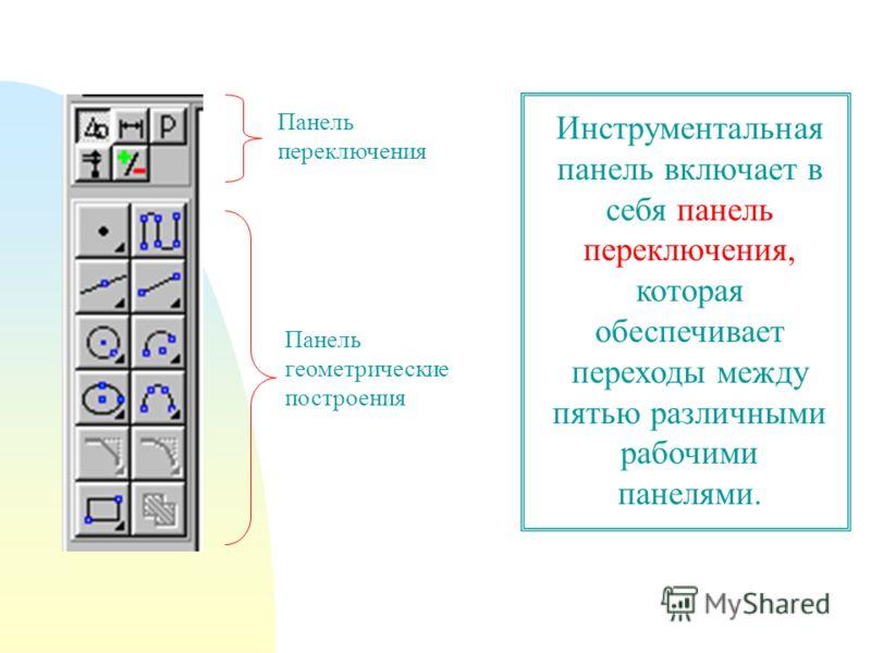 Панель переключения Панель геометрические построения Инструментальная панель включает в себя панель переключения, которая обеспечивает переходы между пятью различными рабочими панелями.
