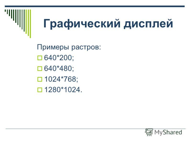 Графический дисплей Примеры растров: 640*200; 640*480; 1024*768; 1280*1024.