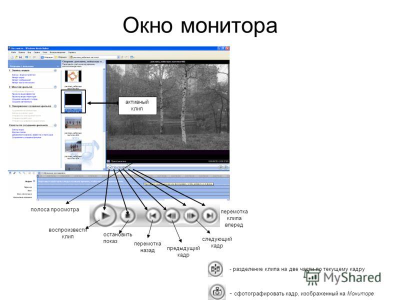 Окно монитора - разделение клипа на две части по текущему кадру - сфотографировать кадр, изображенный на Мониторе перемотка клипа вперед воспроизвести клип остановить показ перемотка назад следующий кадр предыдущий кадр активный клип полоса просмотра