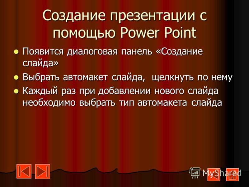 Создание презентации с помощью Power Point Запустить Power Point. Появится диалоговая панель Power Point Запустить Power Point. Появится диалоговая панель Power Point Щелкните на «Пустую презентацию» Щелкните на «Пустую презентацию» Щелкните по кнопк