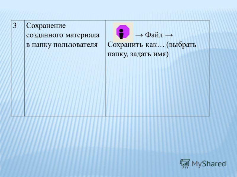 3Сохранение созданного материала в папку пользователя Файл Сохранить как… (выбрать папку, задать имя)