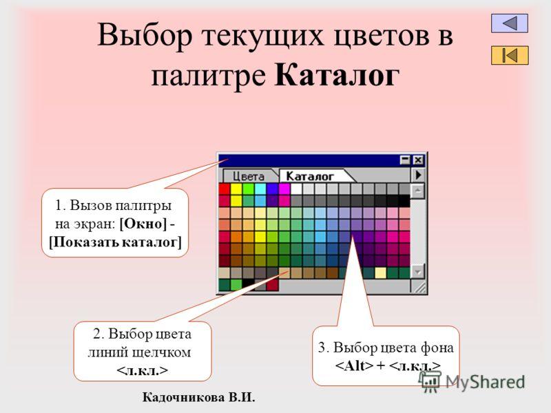 Кадочникова В.И. Выбор текущих цветов в палитре Каталог 2. Выбор цвета линий щелчком 3. Выбор цвета фона + 1. Вызов палитры на экран: [Окно] - [Показать каталог]