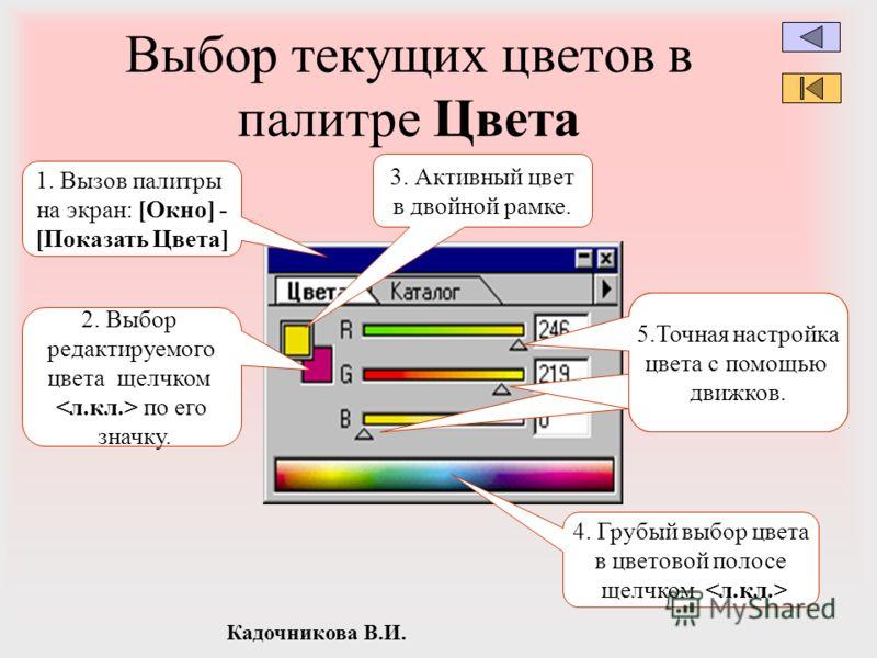 Кадочникова В.И. Выбор текущих цветов в палитре Цвета 1. Вызов палитры на экран: [Окно] - [Показать Цвета] 3. Активный цвет в двойной рамке. 2. Выбор редактируемого цвета щелчком по его значку. 4. Грубый выбор цвета в цветовой полосе щелчком 5.Точная