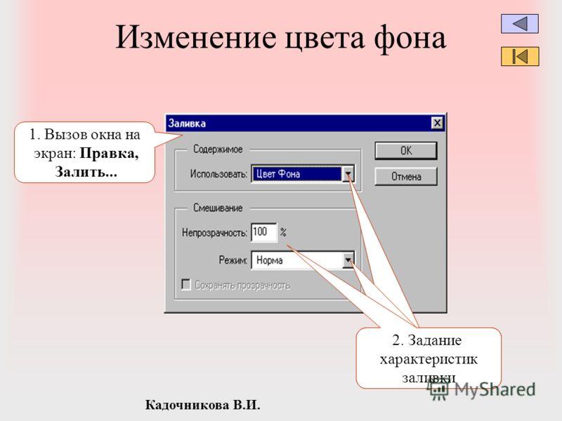 Кадочникова В.И. Изменение цвета фона 1. Вызов окна на экран: Правка, Залить... 2. Задание характеристик заливки