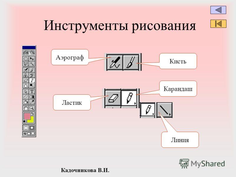 Кадочникова В.И. Инструменты рисования Аэрограф Ластик Кисть Карандаш Линия