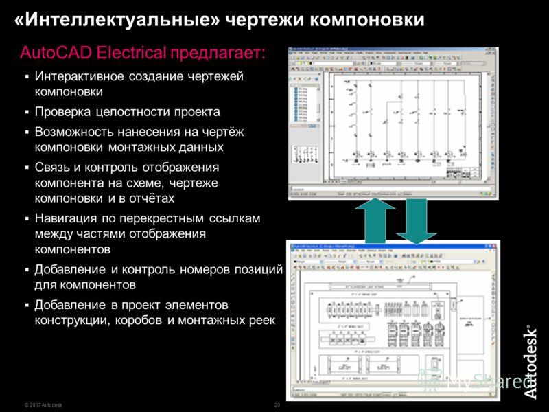 20 © 2007 Autodesk «Интеллектуальные» чертежи компоновки AutoCAD Electrical предлагает: Интерактивное создание чертежей компоновки Проверка целостности проекта Возможность нанесения на чертёж компоновки монтажных данных Связь и контроль отображения к