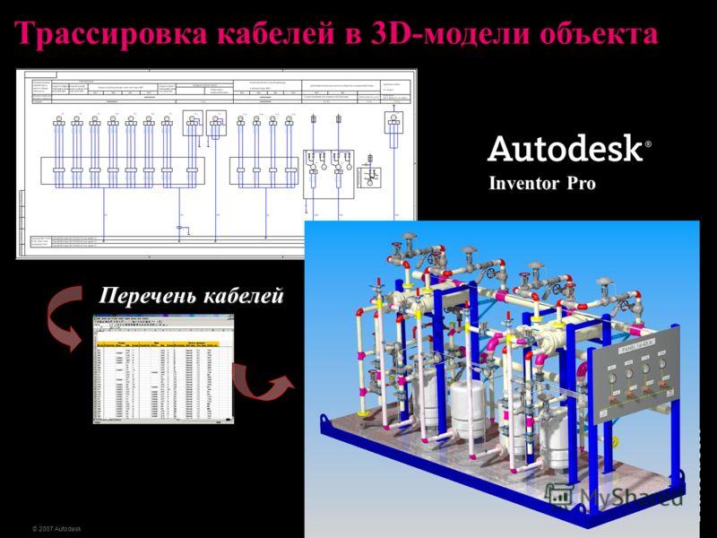 23 © 2007 Autodesk Трассировка кабелей в 3D-модели объекта Перечень кабелей Inventor Pro