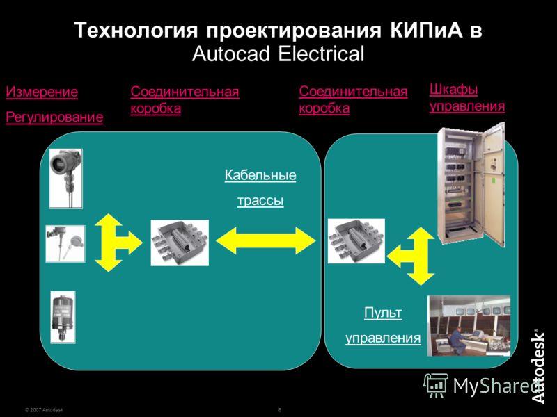 8 © 2007 Autodesk Технология проектирования КИПиА в Autocad Electrical Измерение Регулирование Кабельные трассы Соединительная коробка Шкафы управления Пульт управления