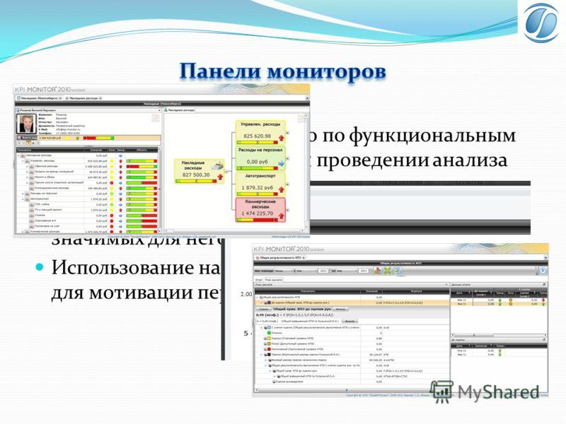 Группировка показателей по по функциональным существенным признакам и проведении анализа каждой группы. Определение каждому пользователю только значимых для него показателей. Использование настроенных панелей мониторов для мотивации персонала