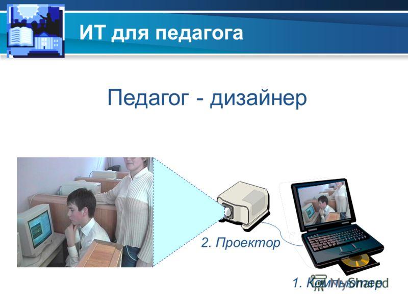 ИТ для педагога 1. Компьютер 2. Проектор Педагог - дизайнер
