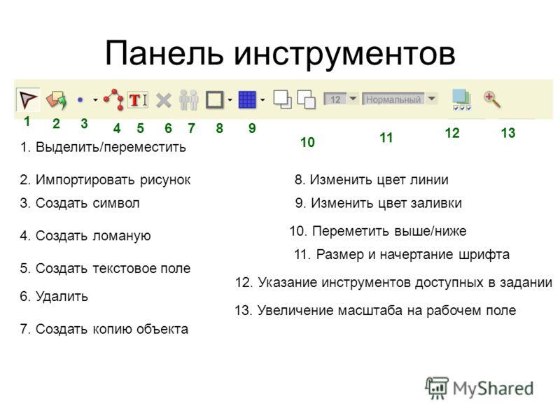 Панель инструментов 1. Выделить/переместить 2. Импортировать рисунок 3. Создать символ 4. Создать ломаную 5. Создать текстовое поле 6. Удалить 7. Создать копию объекта 8. Изменить цвет линии 9. Изменить цвет заливки 10. Переметить выше/ниже 11. Разме