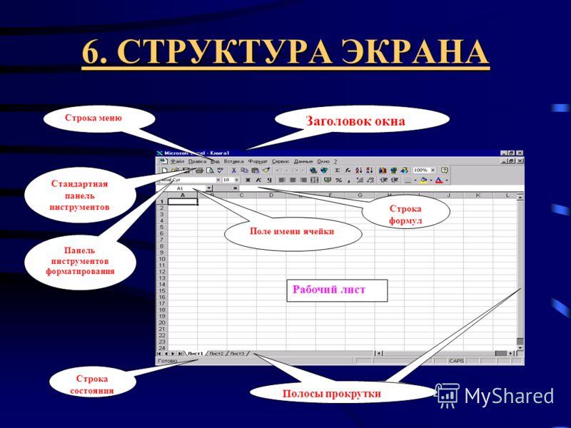 5. ВОЗМОЖНОСТИ EXCEL Ввод данных в любом виде (числа, формулы, текст), немедленное вычисление вводимых формульных выражений, автоматический перерасчет формульных выражений при изменении числовых значений, создание диаграмм, графиков, наличие разнообр