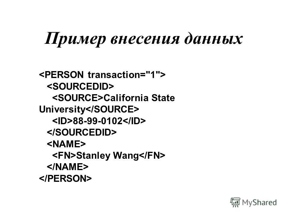 Пример внесения данных California State University 88-99-0102 Stanley Wang