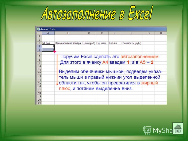 Поручим Excel сделать это автозаполнением. Для этого в ячейку А4 введем 1, а в А5 – 2. Выделим обе ячейки мышкой, подведем указа- тель мыши в правый нижний угол выделенной области так, чтобы он превратился в жирный плюс, и потянем выделение вниз. +