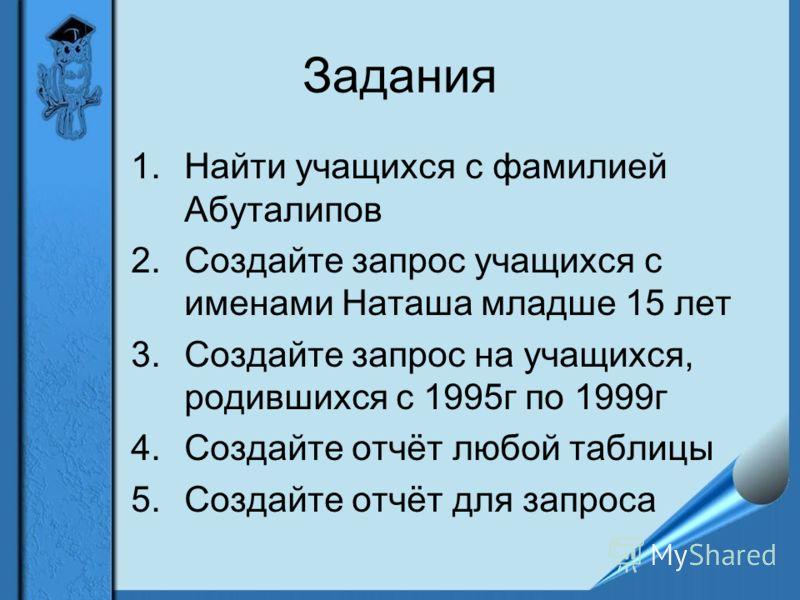 Задания 1.Найти учащихся с фамилией Абуталипов 2.Создайте запрос учащихся с именами Наташа младше 15 лет 3.Создайте запрос на учащихся, родившихся с 1995г по 1999г 4.Создайте отчёт любой таблицы 5.Создайте отчёт для запроса