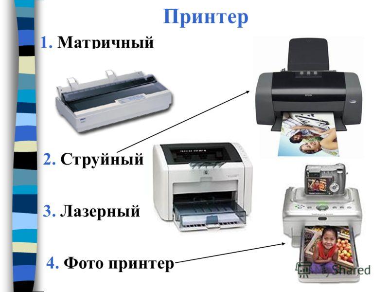 Принтер 1. Матричный 2. Струйный 3. Лазерный 4. Фото принтер