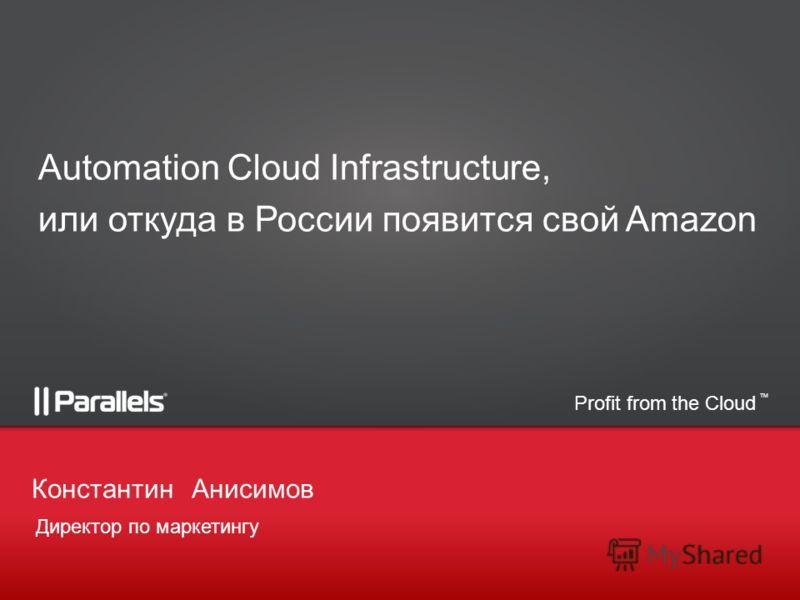 Profit from the Cloud TM Директор по маркетингу КонстантинАнисимов Automation Cloud Infrastructure, или откуда в России появится свой Amazon