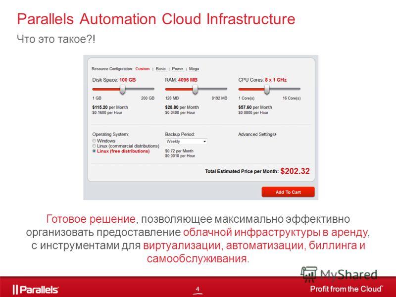 4 Profit from the Cloud TM Parallels Automation Cloud Infrastructure Что это такое?! Готовое решение, позволяющее максимально эффективно организовать предоставление облачной инфраструктуры в аренду, с инструментами для виртуализации, автоматизации, б