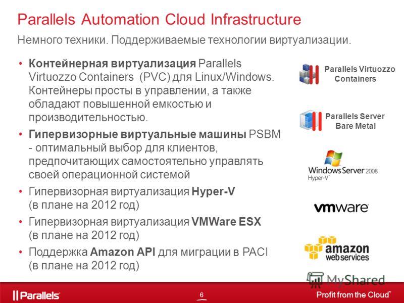 6 Profit from the Cloud TM Parallels Automation Cloud Infrastructure Немного техники. Поддерживаемые технологии виртуализации. Контейнерная виртуализация Parallels Virtuozzo Containers (PVC) для Linux/Windows. Контейнеры просты в управлении, а также