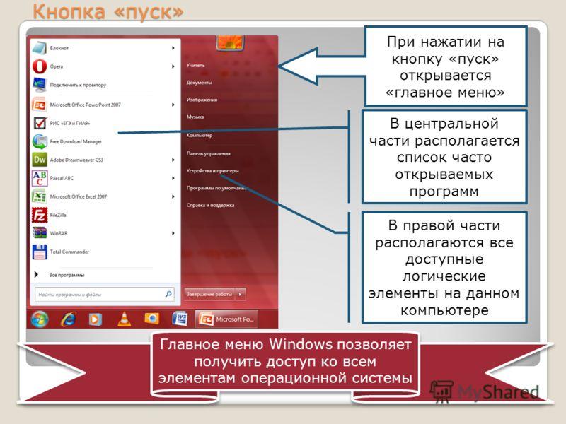 Кнопка «пуск» При нажатии на кнопку «пуск» открывается «главное меню» В центральной части располагается список часто открываемых программ В правой части располагаются все доступные логические элементы на данном компьютере Главное меню Windows позволя