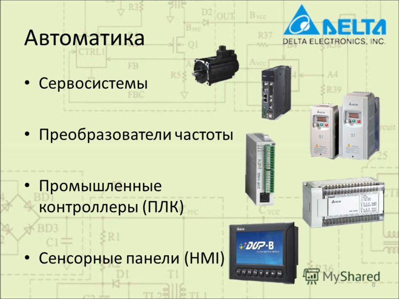 Автоматика Сервосистемы Преобразователи частоты Промышленные контроллеры (ПЛК) Сенсорные панели (HMI) 8