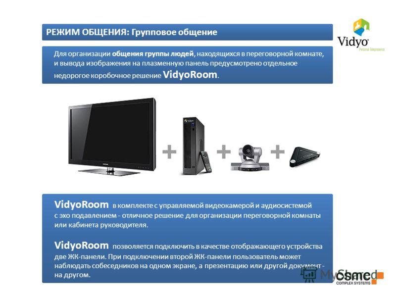 Для организации общения группы людей, находящихся в переговорной комнате, и вывода изображения на плазменную панель предусмотрено отдельное недорогое коробочное решение VidyoRoom. VidyoRoom в комплекте с управляемой видеокамерой и аудиосистемой с эхо