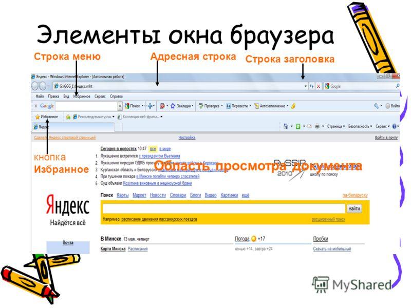 Элементы окна браузера Строка заголовка Адресная строка Область просмотра документа Строка меню кнопка Избранное