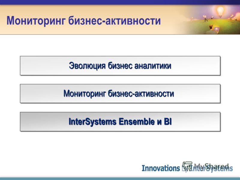 Мониторинг бизнес-активности Эволюция бизнес аналитики Мониторинг бизнес-активности InterSystems Ensemble и BI