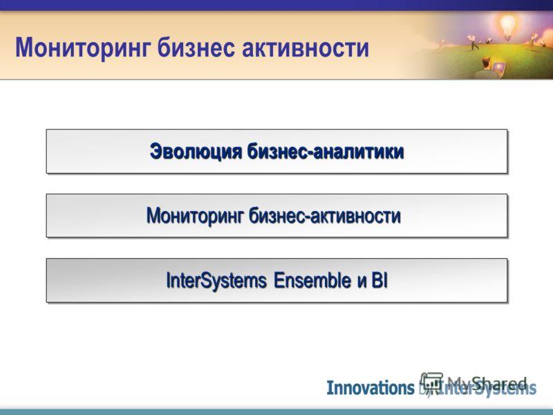 Мониторинг бизнес активности Эволюция бизнес-аналитики Мониторинг бизнес-активности InterSystems Ensemble и BI