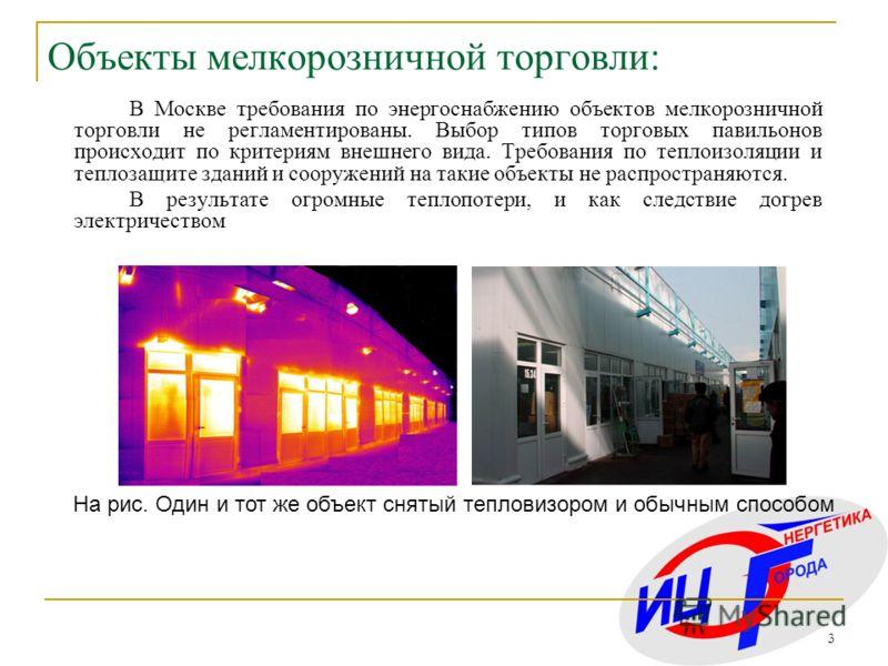 3 В Москве требования по энергоснабжению объектов мелкорозничной торговли не регламентированы. Выбор типов торговых павильонов происходит по критериям внешнего вида. Требования по теплоизоляции и теплозащите зданий и сооружений на такие объекты не ра