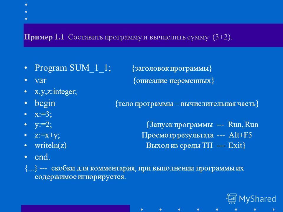 Пример 1.1 Составить программу и вычислить сумму (3+2). Program SUM_1_1; {заголовок программы} var {описание переменных} x,y,z:integer; begin {тело программы – вычислительная часть} x:=3; y:=2; {Запуск программы --- Run, Run z:=x+y; Просмотр результа
