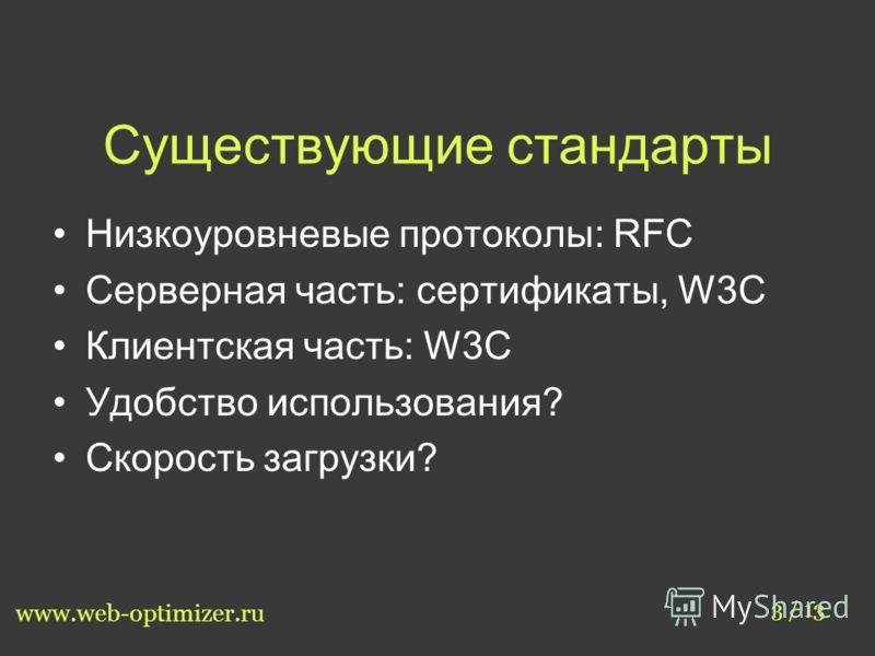 Существующие стандарты Низкоуровневые протоколы: RFC Серверная часть: сертификаты, W3C Клиентская часть: W3C Удобство использования? Скорость загрузки? 3 / 13 www.web-optimizer.ru