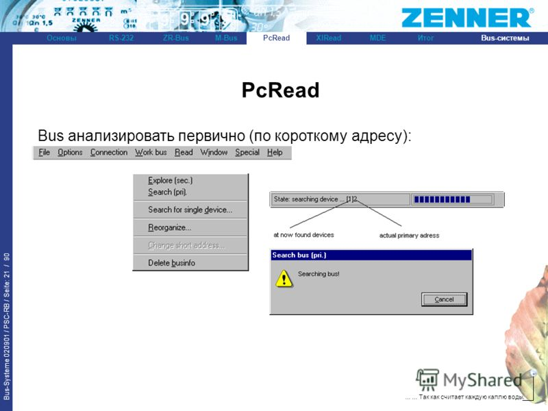 Bus-Systeme 020901 / PSC-RB / Seite: 21 / 90 Bus-системыОсновыRS-232XlReadZR-BusM-BusPcReadИтогMDE...... Так как считает каждую каплю воды. PcRead Bus анализировать первично (по короткому адресу): PcRead