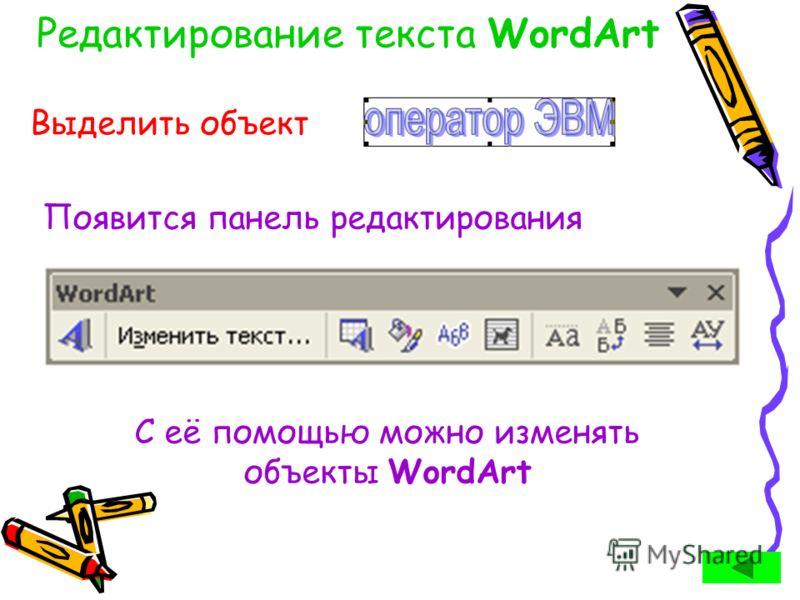 Редактирование текста WordArt Выделить объект Появится панель редактирования С её помощью можно изменять объекты WordArt
