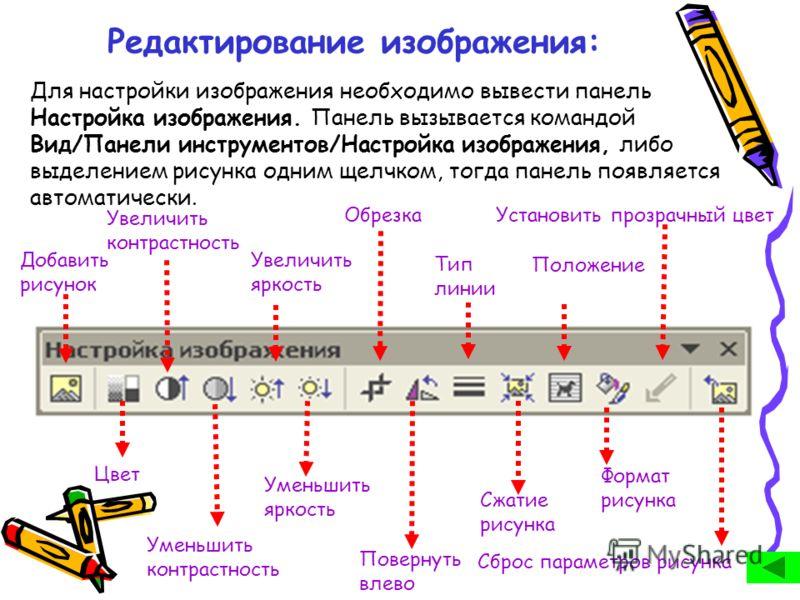 Редактирование изображения: Для настройки изображения необходимо вывести панель Настройка изображения. Панель вызывается командой Вид/Панели инструментов/Настройка изображения, либо выделением рисунка одним щелчком, тогда панель появляется автоматиче