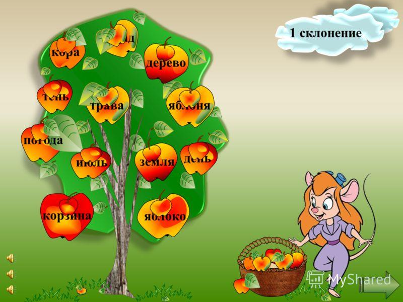 Помоги собрать урожай. Щёлкни правой кнопкой мыши по яблоку, на нем появится слово. Определи склонение имени существительного. Если оно относится к первому склонению, то нажми на яблоко ещё раз. Если же нет, то оставь его на дереве. Удачи тебе!